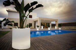 Huge designer illuminated cylinder planters with easy watering system online at potstore.co.uk
